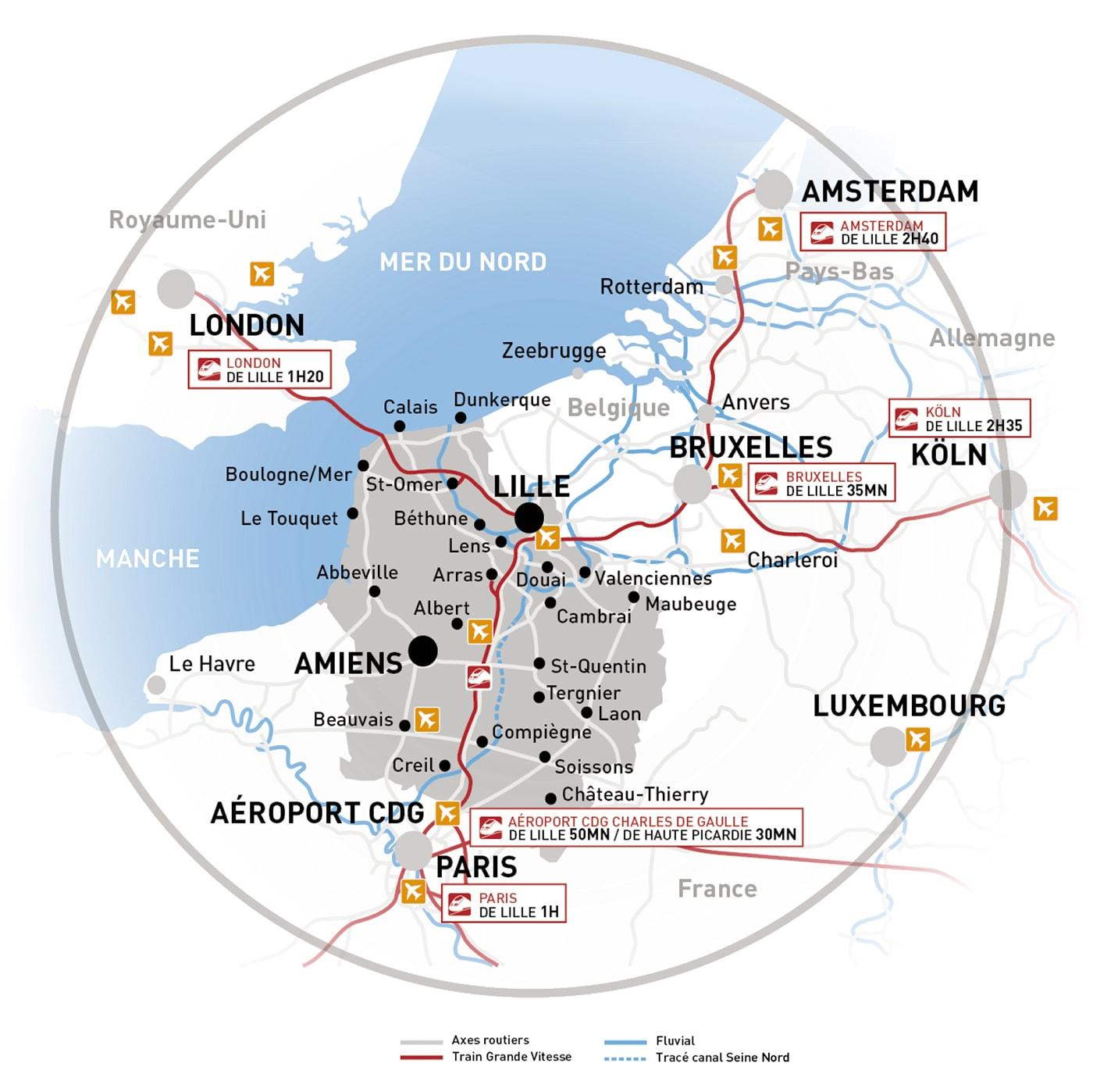 Positionnement de Lille dans un réseau de transport à plus grande échelle